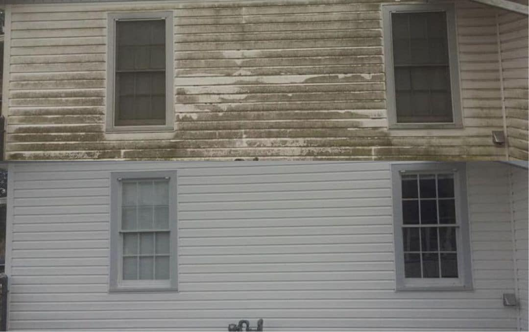 Before and after photo showing the difference a professional exterior cleaning service can have on vinyl siding.