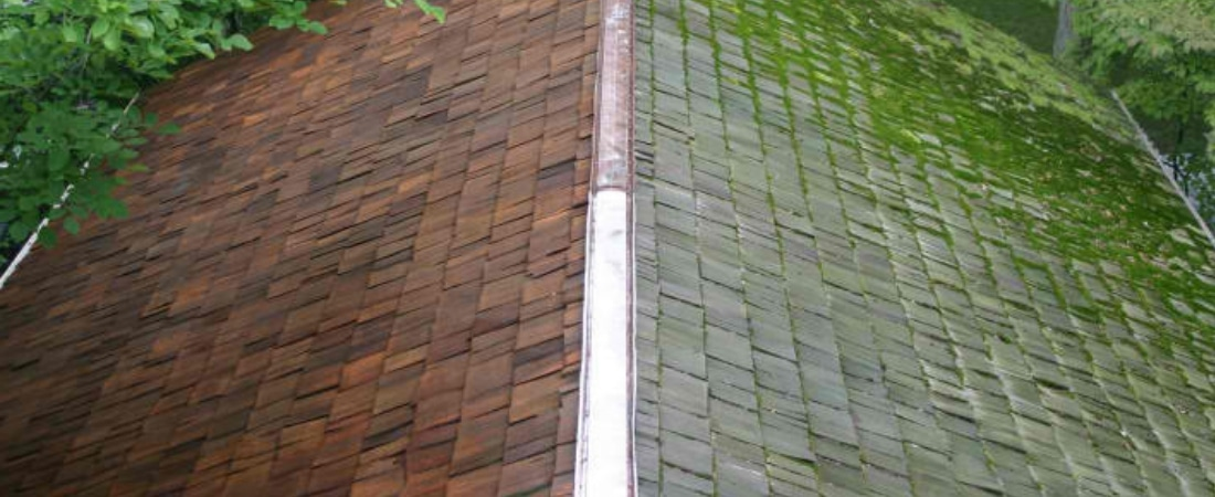 Photo of a roof halfway through a power cleaning service.